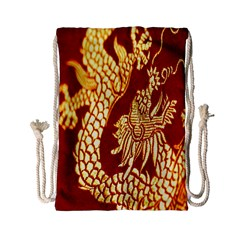 Fabric Pattern Dragon Embroidery Texture Drawstring Bag (Small)