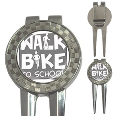 Bicycle Walk Bike School Sign Grey 3 In 1 Golf Divots by Alisyart