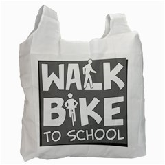 Bicycle Walk Bike School Sign Grey Recycle Bag (one Side) by Alisyart
