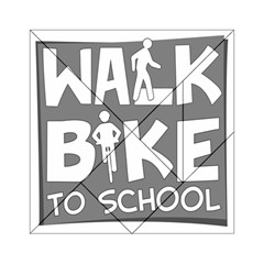 Bicycle Walk Bike School Sign Grey Acrylic Tangram Puzzle (6  X 6 ) by Alisyart