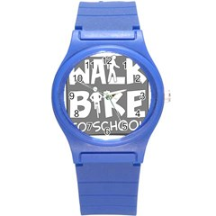Bicycle Walk Bike School Sign Grey Round Plastic Sport Watch (s) by Alisyart