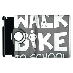 Bicycle Walk Bike School Sign Grey Apple Ipad 2 Flip 360 Case by Alisyart
