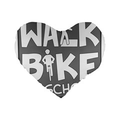 Bicycle Walk Bike School Sign Grey Standard 16  Premium Flano Heart Shape Cushions by Alisyart