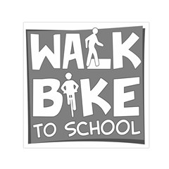 Bicycle Walk Bike School Sign Grey Small Satin Scarf (square) by Alisyart