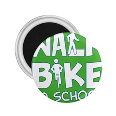 Bicycle Walk Bike School Sign Green Blue 2 25  Magnets by Alisyart
