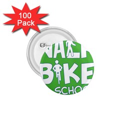 Bicycle Walk Bike School Sign Green Blue 1 75  Buttons (100 Pack)  by Alisyart