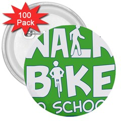 Bicycle Walk Bike School Sign Green Blue 3  Buttons (100 Pack)  by Alisyart