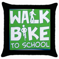 Bicycle Walk Bike School Sign Green Blue Throw Pillow Case (black) by Alisyart