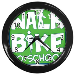 Bicycle Walk Bike School Sign Green Blue Wall Clocks (black) by Alisyart