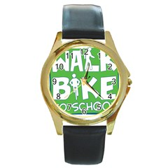 Bicycle Walk Bike School Sign Green Blue Round Gold Metal Watch by Alisyart
