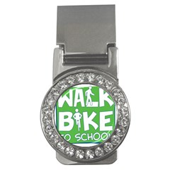 Bicycle Walk Bike School Sign Green Blue Money Clips (cz)  by Alisyart