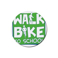 Bicycle Walk Bike School Sign Green Blue Rubber Round Coaster (4 Pack)  by Alisyart