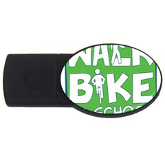 Bicycle Walk Bike School Sign Green Blue Usb Flash Drive Oval (2 Gb) by Alisyart