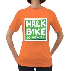 Bicycle Walk Bike School Sign Green Blue Women s Dark T Shirt