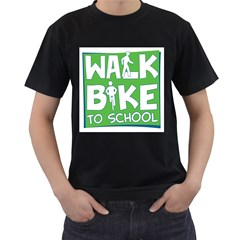 Bicycle Walk Bike School Sign Green Blue Men s T Shirt (black) by Alisyart