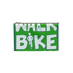 Bicycle Walk Bike School Sign Green Blue Cosmetic Bag (small)  by Alisyart
