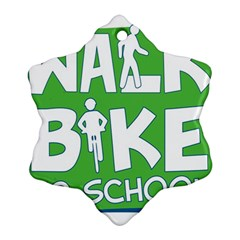 Bicycle Walk Bike School Sign Green Blue Ornament (snowflake) by Alisyart