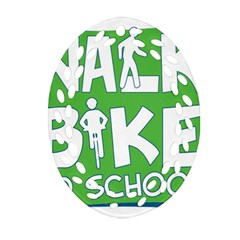 Bicycle Walk Bike School Sign Green Blue Oval Filigree Ornament (two Sides) by Alisyart