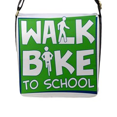 Bicycle Walk Bike School Sign Green Blue Flap Messenger Bag (l)  by Alisyart