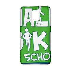 Bicycle Walk Bike School Sign Green Blue Samsung Galaxy S5 Hardshell Case  by Alisyart