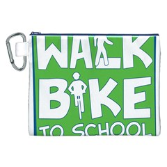 Bicycle Walk Bike School Sign Green Blue Canvas Cosmetic Bag (xxl) by Alisyart