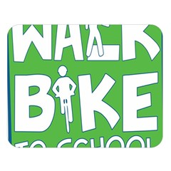Bicycle Walk Bike School Sign Green Blue Double Sided Flano Blanket (large)  by Alisyart