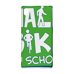 Bicycle Walk Bike School Sign Green Blue Sony Xperia Z3+ by Alisyart
