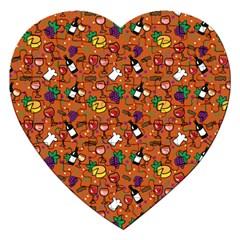 Wine Cheede Fruit Purple Yellow Orange Jigsaw Puzzle (heart) by Alisyart