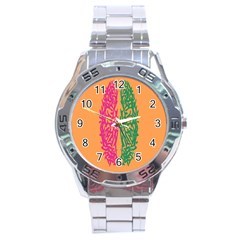 Brian Pink Green Orange Smart Stainless Steel Analogue Watch by Alisyart