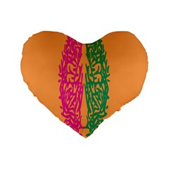 Brian Pink Green Orange Smart Standard 16  Premium Flano Heart Shape Cushions by Alisyart