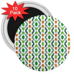Chevron Wave Green Orange 3  Magnets (10 Pack)  by Alisyart