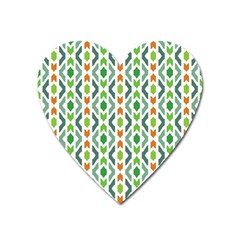 Chevron Wave Green Orange Heart Magnet by Alisyart