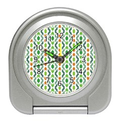 Chevron Wave Green Orange Travel Alarm Clocks by Alisyart