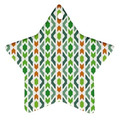 Chevron Wave Green Orange Star Ornament (two Sides) by Alisyart