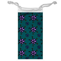 Blue Purple Floral Flower Sunflower Frame Jewelry Bag by Alisyart
