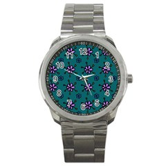 Blue Purple Floral Flower Sunflower Frame Sport Metal Watch by Alisyart
