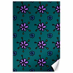 Blue Purple Floral Flower Sunflower Frame Canvas 24  X 36  by Alisyart