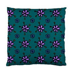 Blue Purple Floral Flower Sunflower Frame Standard Cushion Case (two Sides) by Alisyart