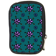 Blue Purple Floral Flower Sunflower Frame Compact Camera Cases by Alisyart