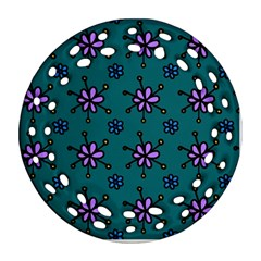 Blue Purple Floral Flower Sunflower Frame Round Filigree Ornament (two Sides) by Alisyart
