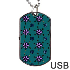 Blue Purple Floral Flower Sunflower Frame Dog Tag Usb Flash (one Side) by Alisyart
