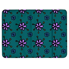 Blue Purple Floral Flower Sunflower Frame Samsung Galaxy Tab 7  P1000 Flip Case by Alisyart