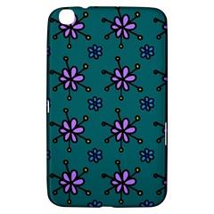Blue Purple Floral Flower Sunflower Frame Samsung Galaxy Tab 3 (8 ) T3100 Hardshell Case  by Alisyart