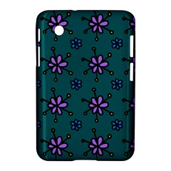 Blue Purple Floral Flower Sunflower Frame Samsung Galaxy Tab 2 (7 ) P3100 Hardshell Case  by Alisyart