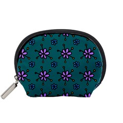 Blue Purple Floral Flower Sunflower Frame Accessory Pouches (small)  by Alisyart