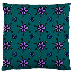 Blue Purple Floral Flower Sunflower Frame Standard Flano Cushion Case (two Sides) by Alisyart