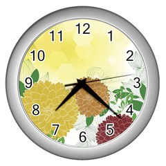 Abstract Flowers Sunflower Gold Red Brown Green Floral Leaf Frame Wall Clocks (silver)  by Alisyart
