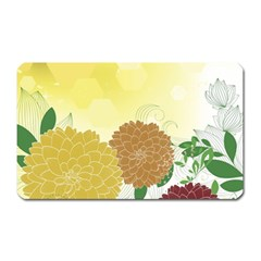 Abstract Flowers Sunflower Gold Red Brown Green Floral Leaf Frame Magnet (rectangular) by Alisyart