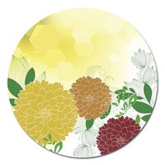 Abstract Flowers Sunflower Gold Red Brown Green Floral Leaf Frame Magnet 5  (round) by Alisyart