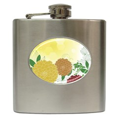 Abstract Flowers Sunflower Gold Red Brown Green Floral Leaf Frame Hip Flask (6 Oz) by Alisyart